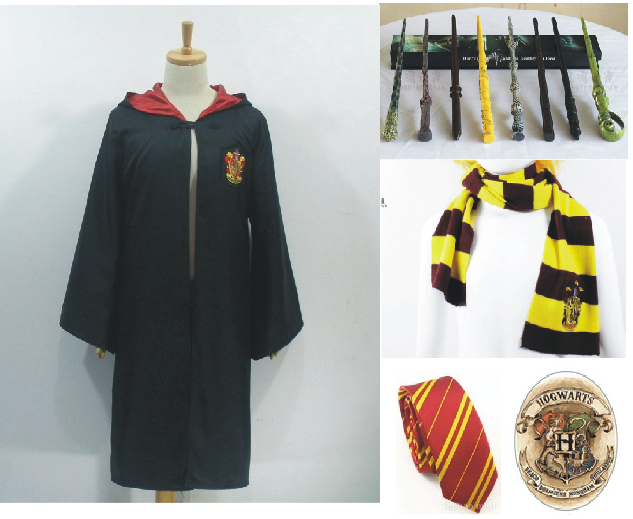 Harry Potter Costume Cloak And Tie Magic Wand Scarf Badge Form
