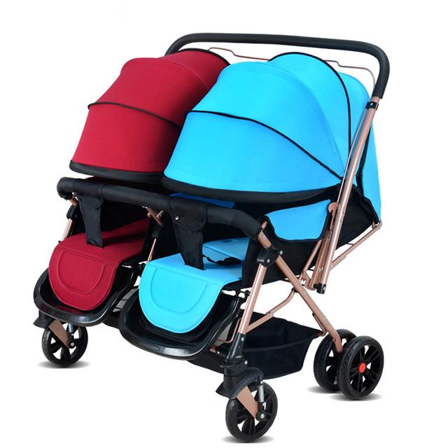 Barato Del Cochecito de Bebé para Los Gemelos Asientos Dobles Gemelas Cochecitos Para Bebé Cochecito Del Paraguas Ligero Plegable Carro de Bebé y Sillas de Paseo