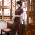 TIC-TEC women dresses long qipao chinese traditional elegant vintage dress lace sexy oriental dresses cheongsam evening P3275