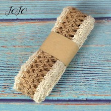JOJO BOWS 40mm 2m Jute Burlap Ribbon Hollow Out Hemp Linen Webbing Braided Rope DIY Craft Supplies Gift Wrapping Home Decoration