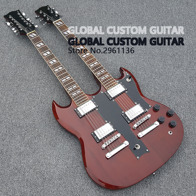 in stock double neck 1275 model electric guitar 6 string 12 string combo red color jimmy page. Black Bedroom Furniture Sets. Home Design Ideas