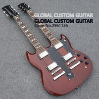 In Stock,Double Neck 1275 model Electric guitar 6 string+12 string Combo,Red color Jimmy Page 1275 double necks electric guitar