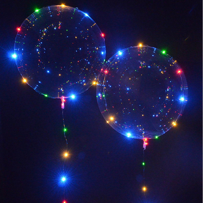 18 Inch Luminous Led Balloon Transpa String Lights Round Bubble Helium Balloons Kids Wedding Decoration