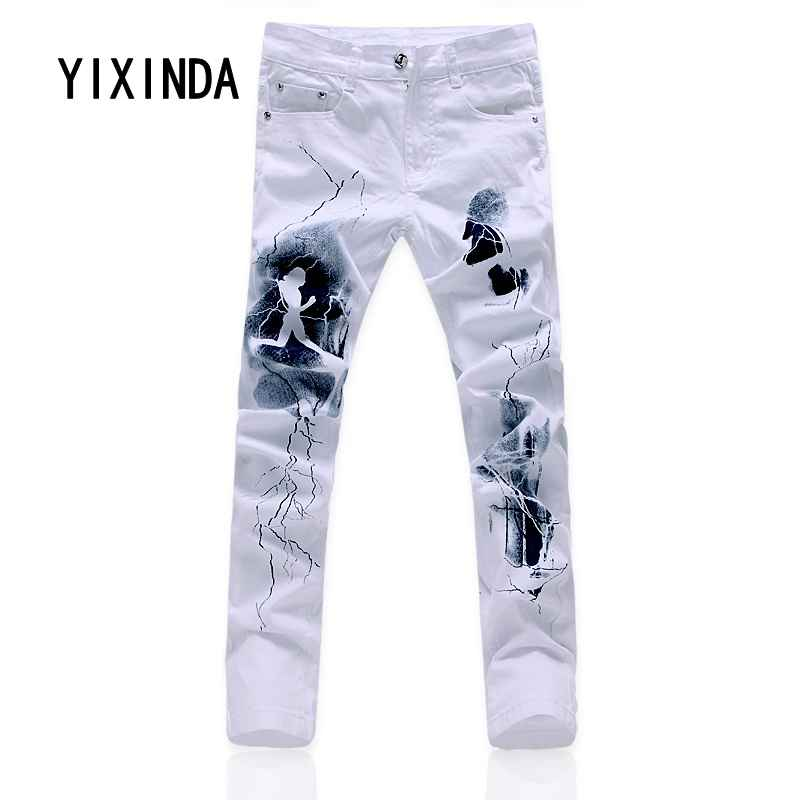 YIXINDA Brand 2018 new mens casual printed jeans fashion stretch denim jeans trousers big size