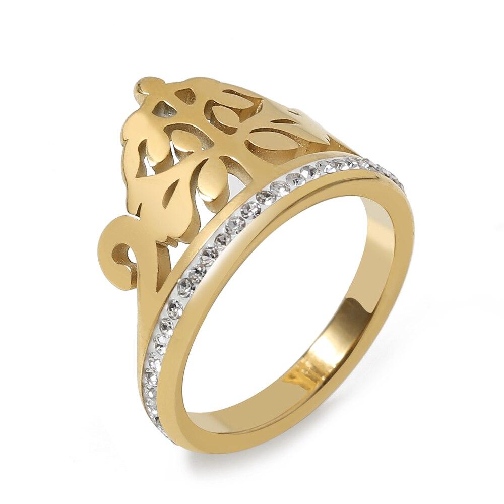 TL Cocktail Party Kristall Crown Ringe Edelstahl Engagement Ring Neue Marke Design Bijoux für Frauen Geschenk Schmuck