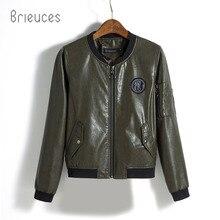 Brieuces 2017 New Fashion Leather Jacket Women Epaulet Baseball Variable Bag Motorcycle Coat Female Outwear