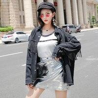 Black Jackets Women 2019 Gothic Fringed Tassel Loose Coat Bf Hip Hop Denim Jacket Korean Rivets Cool Jackets Jeans Windbreaker