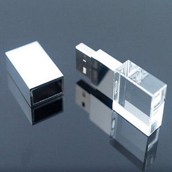 Free shipping Custom 3D Logo Transparent Glass Crystal USB Flash font b Drive b font 2