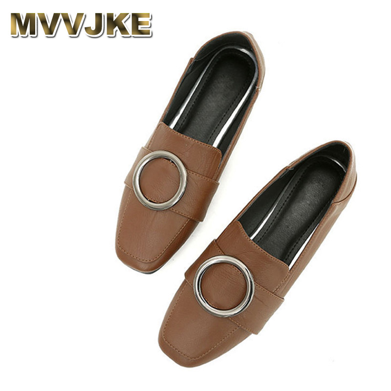 MVVJKE European and american style Ladies flats loafers square toe shoes slip-on green brown women plus size 12 3 soft glitter f 2017 summer new fashion sexy lace ladies flats shoes womens pointed toe shallow flats shoes black slip on casual loafers t033109