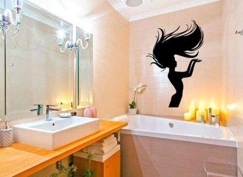 Wall decals vinyl decal sticker woman model hair beauty salon design deco 22inx35in in wall - Stickers salon design ...