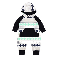 New Geometric Pattern Printed One-piece Hooded Romper Baby Boys Spring Autumn Jumpsuit Long Sleeve Outfit for 6M-3Y Boys