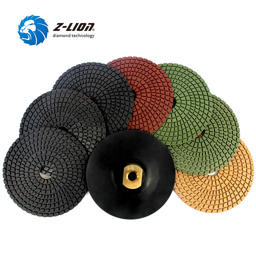 Z-LION 8pcs/Set 5 Diamond Polishing Pad 5/8-11 Polishing Wheel Set 125mm Power Tool Stone Granite Marble Concrete Flexible pad