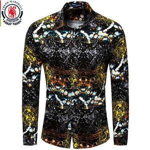 Image 1 - Fredd Marshall Neue 2018 Männer Marke Kleidung Slim Fit Hip Hop Shirt Männer Langarm 3D Drucken Hawaiian Shirt Casual streetwear 31