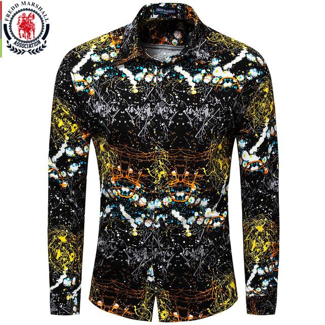 Fredd Marshall Neue 2018 Männer Marke Kleidung Slim Fit Hip Hop Shirt Männer Langarm 3D Drucken Hawaiian Shirt Casual streetwear 31