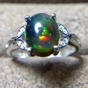 Image 5 - خاتم العقيق الأسود الطبيعي ، 925 الفضة ، جوهرة 3 قيراط ، فلاش النار