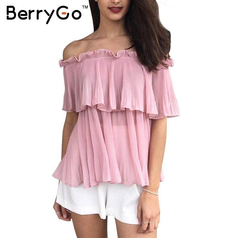 BerryGo Ruffle hombro blusa de la gasa camisa de la playa Del Verano flojo blanc
