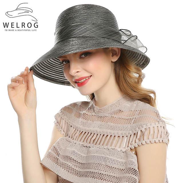 c00b2d5da9c Online Shop WELROG Elegant Fashion Women s Church Hats For Women Big Bow Flower  Summer Sun Protect Hat Wedding Wide Brim Sea Beach