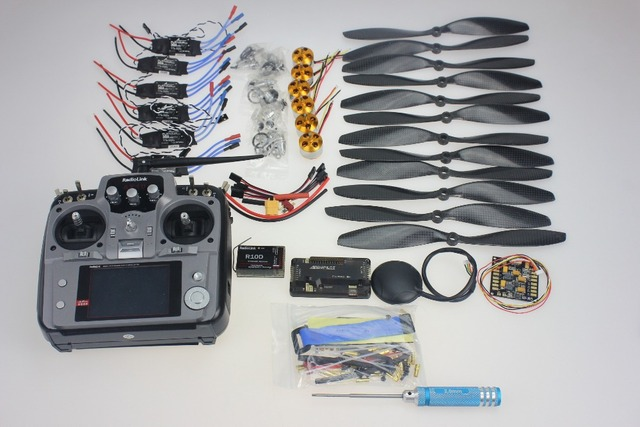 F02015-J 6 axis opvouwbaar rack rc helicopter kit APM2.8 vlucht besturingskaart + gps + 1000KV motor + 10x4.7 propeller + 30a esc + AT10 tx