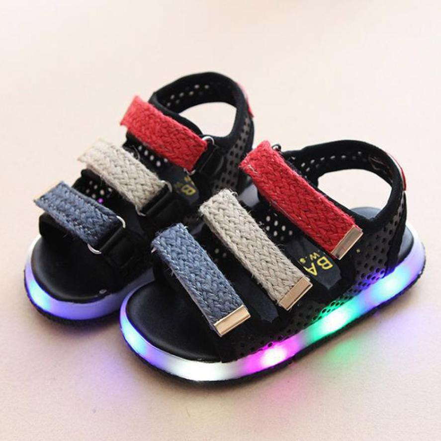 TELOTUNY Toddler Kids Summer Boys Girls Baby Sandals LED Luminous Shoes Sneakers