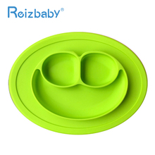 REIZBABY Quality Kids Learning Dishes Smile Shape Food Grade Silicone Bowl Baby Food Feeding One-piece Baby Service Plate Tray