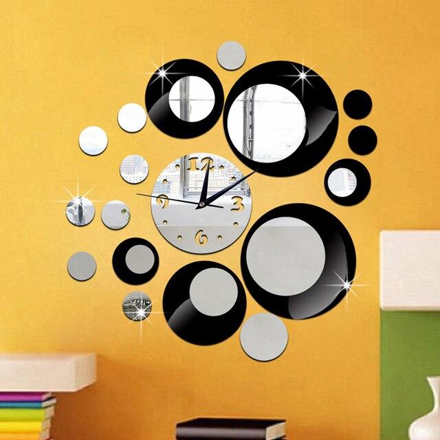 Crystal Mirror Clock 3D Quartz Wall Clock Round DIY Wall Watch ...