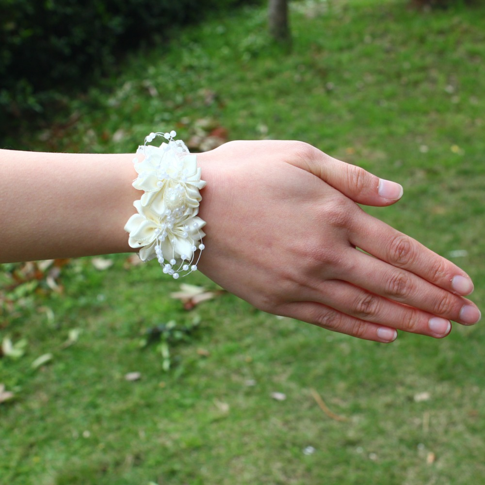 Pearl Beaded Wrist Corsage Wedding Ivory Artificial Flowers Bracel Bridesmaid Marriage Ribbon Corsages Wristband Handmade Sw0679