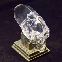 Transparent glass carved aliens skull decor ornament