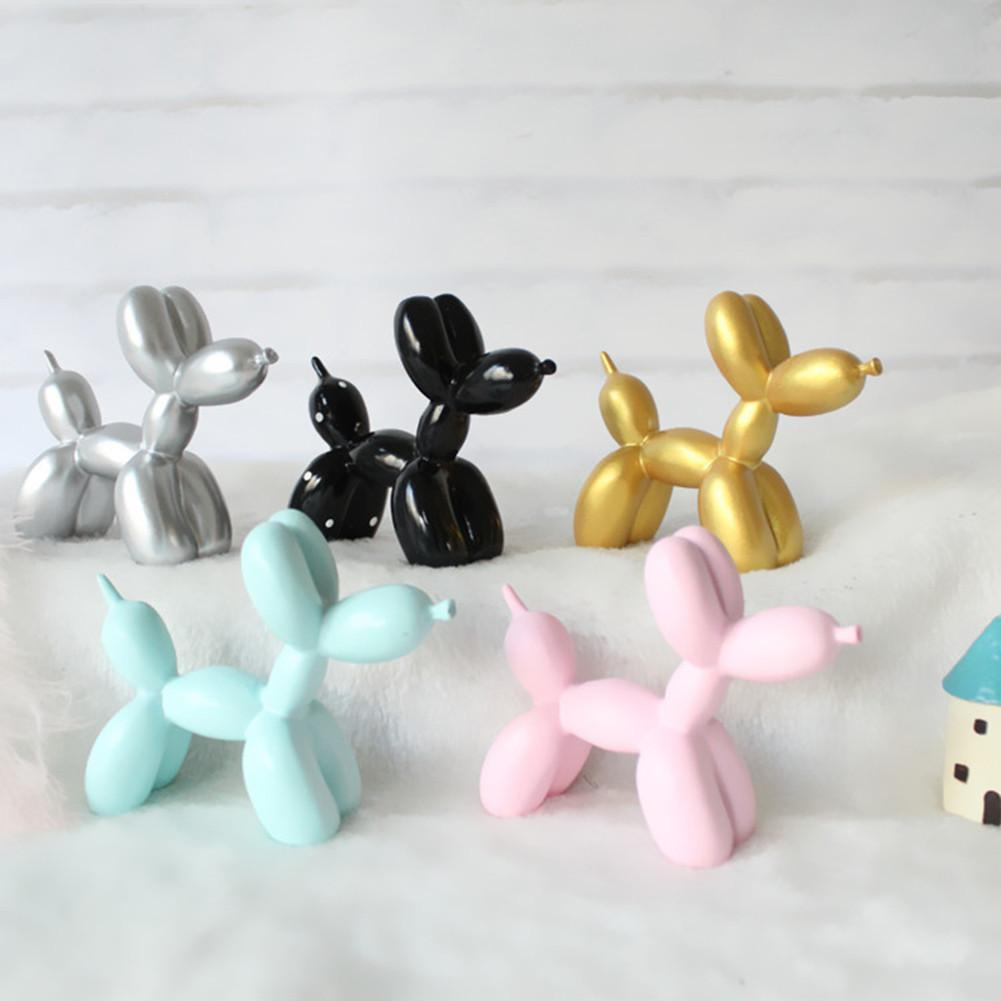 Cute Puppy Balloon Resin Sculpture Gifts Fashion Dessert Table Ornament Birthday Cake Decorations 5 Colors