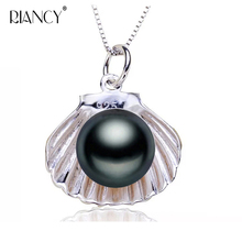Fashion white natural freshwater pearl pendants for women black fine jewelry engagement gift