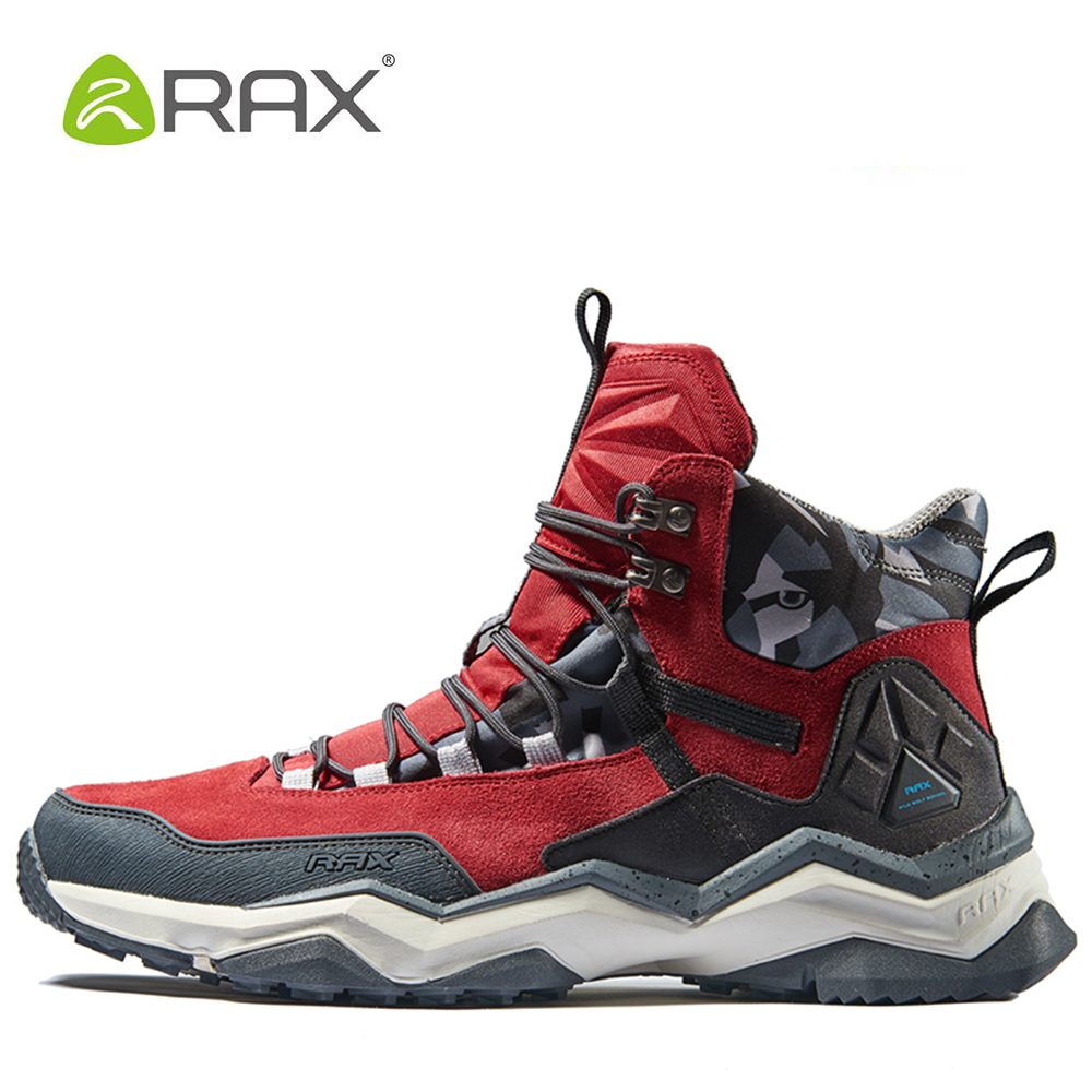 RAX Mens Waterproof Hiking Shoes Genuine Leather Mountain Hiking Boots Men Breathable Trekking Shoes Outdoor Man Climbing Shoes