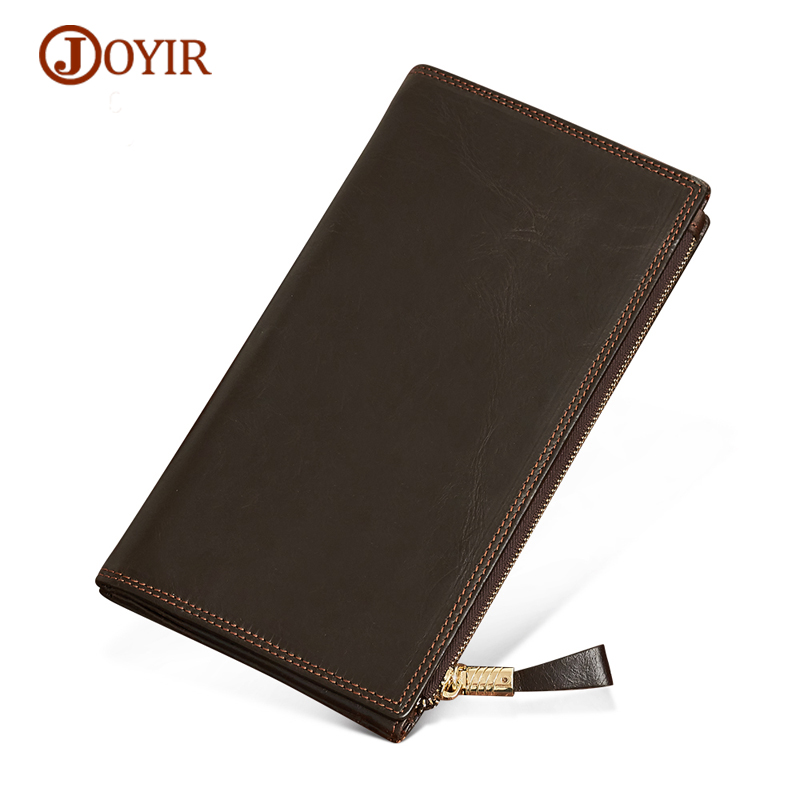 Joyir Mens Wallet Genuine Leather Long Wallets Men Vintage Wallet Male Cluth Purse Money Coin Purse Card Holder Phone Bag Money simline vintage genuine cow leather cowhide mens men long double zipper wallet purse wallets card holder clutch bag bags for man