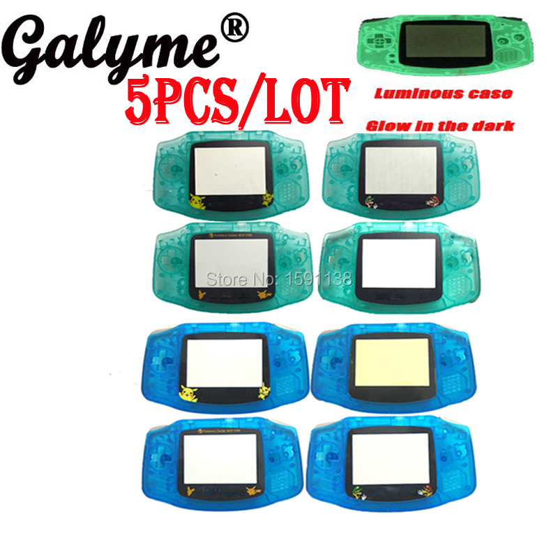 5pcslot Hot Two Color Choose Night Luminous Glow In Dark Housing Shell Case Cover Fit GameboyAdvance Game Console Boy Advance