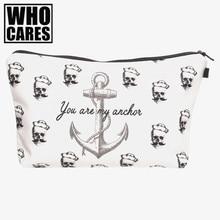 Pirates anchor 3D Printing makeup bag women neceser bolsos mujer de marca famosa 2016 New cosmetic bag bolsa neceser maquillaje