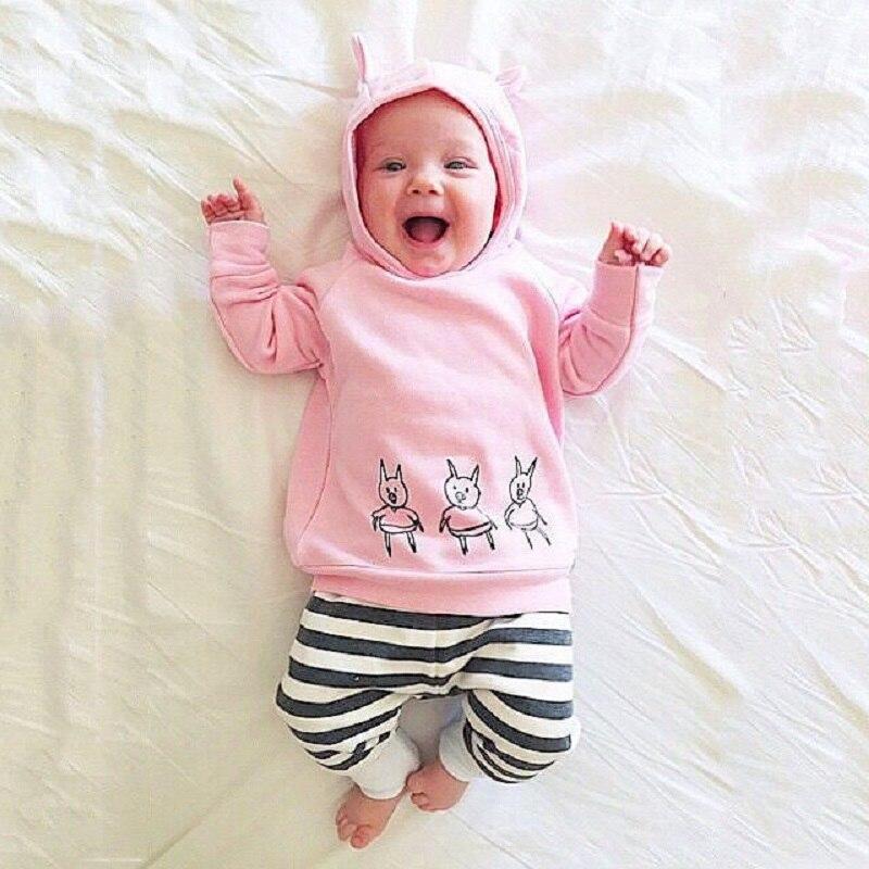Baby Girl Boys Clothes Sweatshirt Tops + <font><b>Striped</b></font> Pants 2pcs Outfits Tracksuit <font><b>Set</b></font> Christmas Hot Sale Pink Pig Cosplay