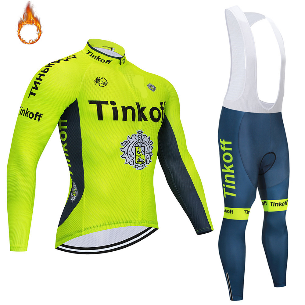 Winter 2020 Cycling Jersey Long Sleeve Winter Thermal Fleece <font><b>Wear</b></font> Bicycle clothing Bib Pants Mountain <font><b>Bike</b></font> Ropa Ciclismo image