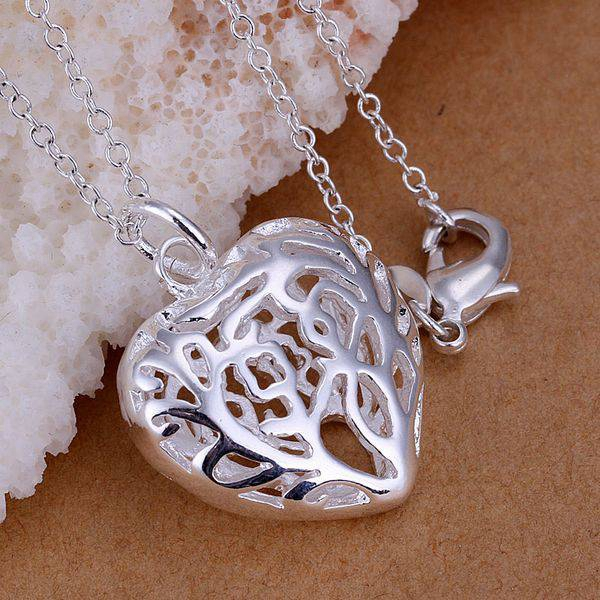 Free Shipping 925 jewelry silver plated Jewelry Pendant Fine Fashion Cute Stereo Heart Necklace Pendants Top Quality CP010