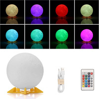 3D Print Moon Lamp Rechargeable Night Light RGB Color Change Touch Switch Bedroom 3D Lunar Moon
