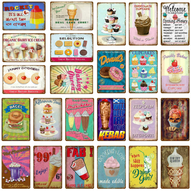 Chocolate Cupcake Metal Signs Rocket Ice Cream Donuts Tin Poster Food Drinks Gin Plate For Kitchen Home Cafe Bar Decoration