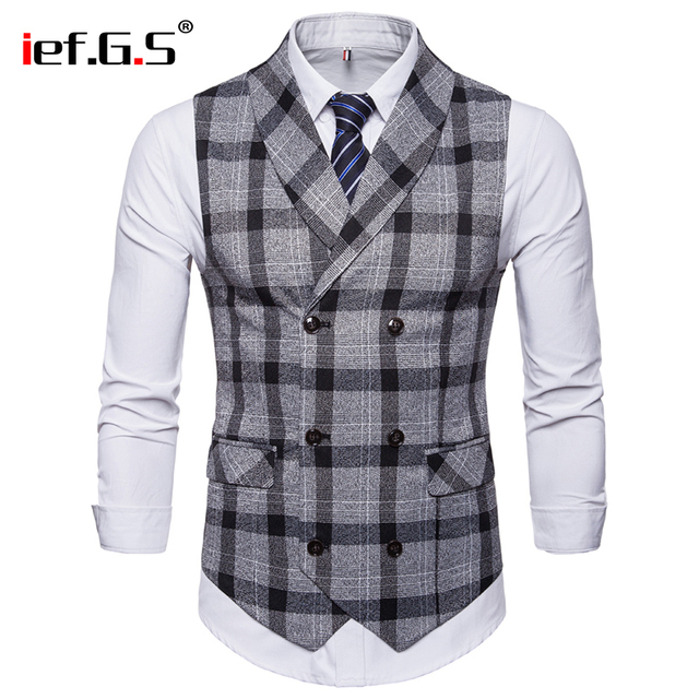 IEF.G.S waistcoat men High-end Business Casual double Row Button Blue stripes Slim vest Match Suit for men colete masculino