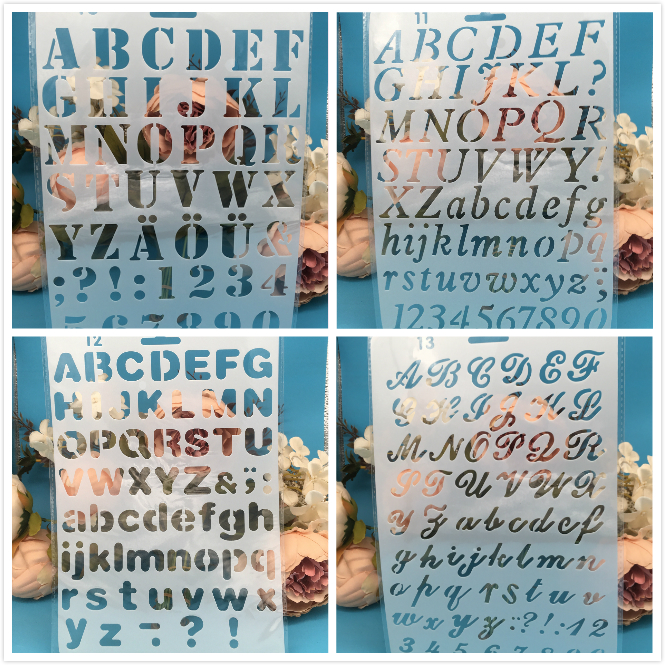 New 4Pcs/Lot 27cm Alphabet Letters DIY Craft Layering Stencils Painting Scrapbooking Stamping Embossing Album Card Template