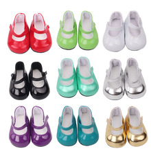 18 inch Girls dolls shoes round toe PU Princess dress American newborn shoe baby toys fit 43 cm s1-s9
