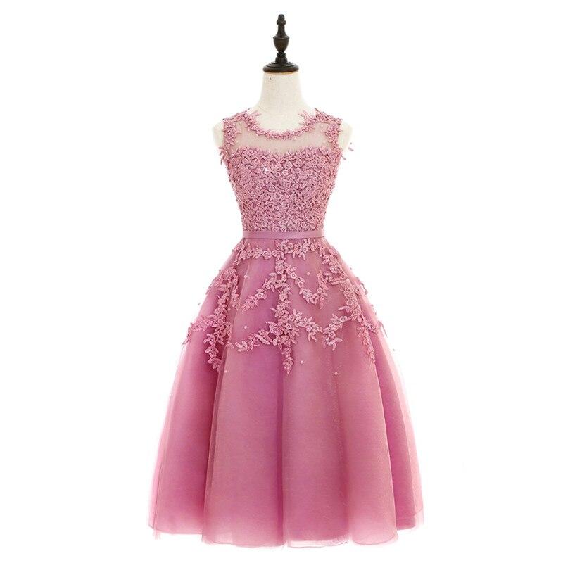 Vestido de fiesta Verde Menta Rosa barato una línea mini apliques ...
