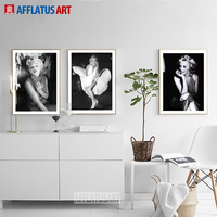 Hollywood Star Marilyn Monroe Figure Painting Vintage Wall Art Posters And Prints Canvas Painting Wall Pictures