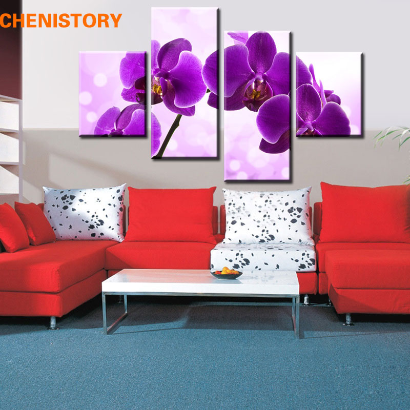 Unframed 4panel Purple Orchid Flower Modern Print Picture Canvas Painting Minion Home Wall Decor For Wedding Room Decoration