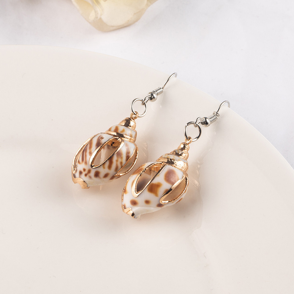 Sea Conch Shell Dangle Earrings Jewelry for Women Gold Silver Color Metal Earrings Summer Gifts Wedding Party Statement Earing (6)