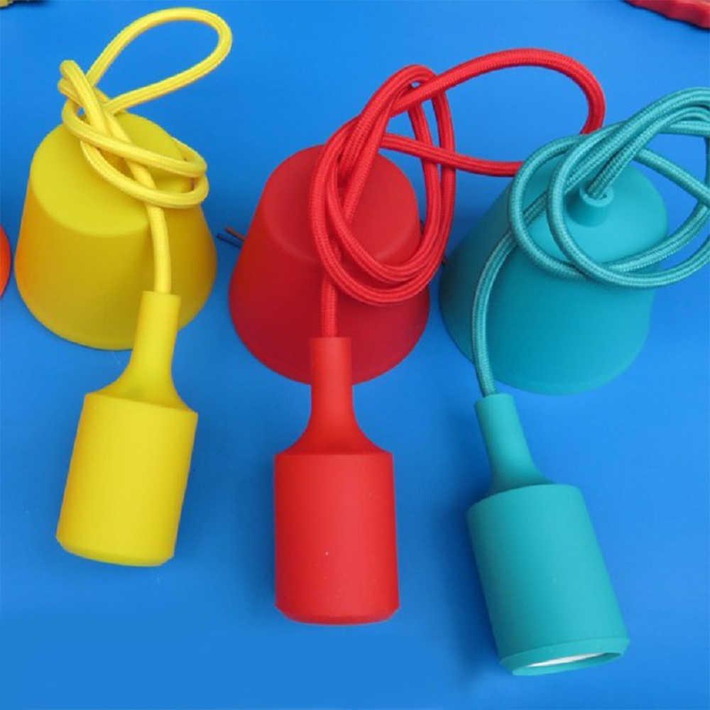 E27 Hanging Lamp Base Bulb Holder DIY Socket Colorful Silicone Line Chandelier Lighting Point Rubber Ceiling Light Fixture Home
