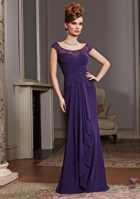 54b82f4ea3b Lace Cap Sleeve Modest Eggplant Purple Bride Mothers Dresses for Beach  Weddings Long Mother of the Groom Evening Dresses MD002
