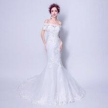 Angel Wedding Dress Marriage Bride Bridal Gown Vestido De Noiva 2017Elegant, retro, lace,Boat Neck Mermaid Dress Sweep train7696