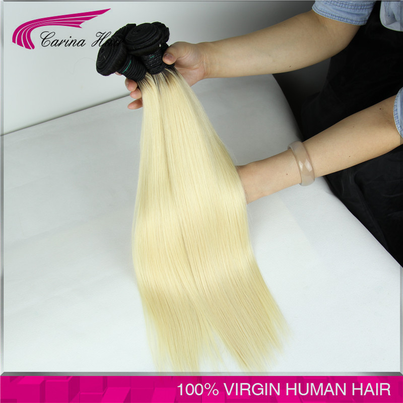 8A Brazilian 1b/613 colored two tone hair straight 3pcs/lot 613 blonde virgin hair dark roots ombre 613 human hair free shipping