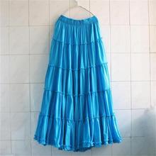 2018 Bohemia Women Long Beach Skirts Plus size Summer Girls Ruffles Beach Skirt Ladies Cotton Skirts Female Solid Casual Skirt